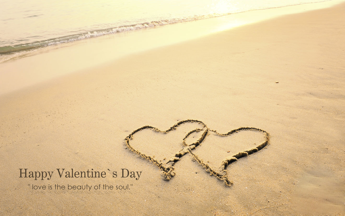 Happy Valentines Day 2019 Two Heart At Beach Wallpaper Image