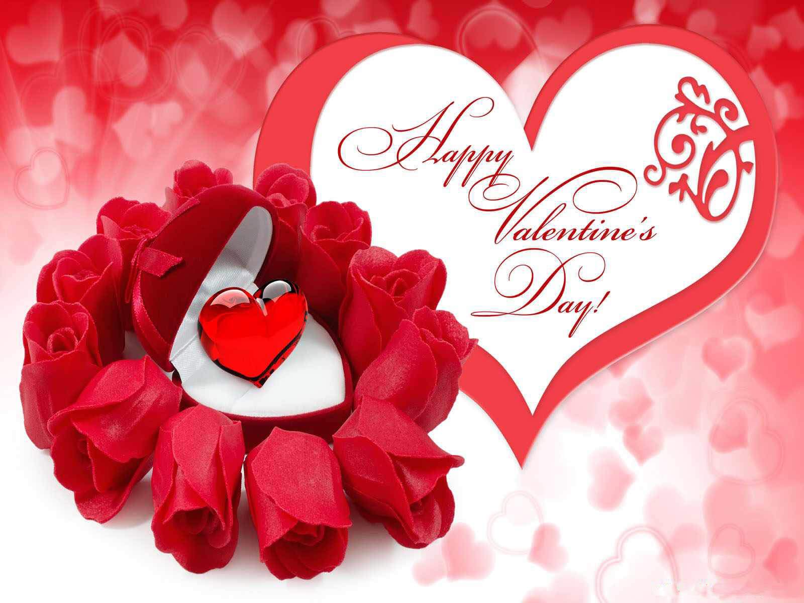 Happy Valentines Day Red Roses With Heart HD Wallpaper Image