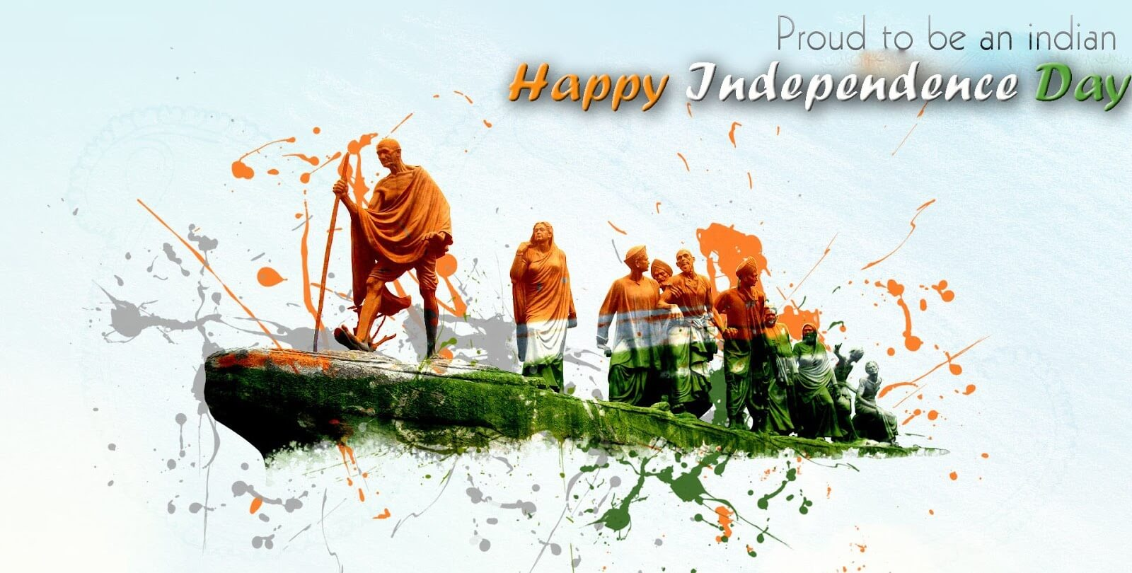 happy independence day wallpaper image with Gandhi
