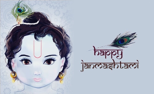 happy janmashtami latest wallpaper HD with sri krishna photo image