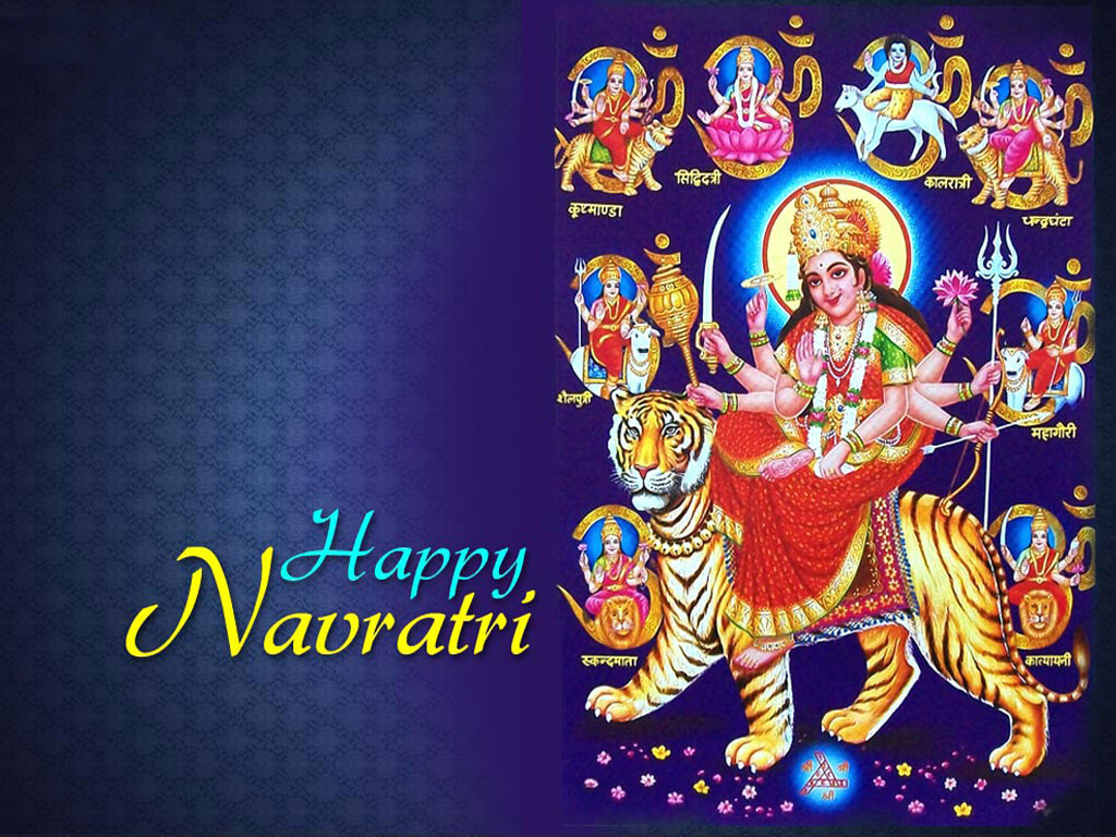 happy navratri HD wallpaper image photo with durga mata with other mata