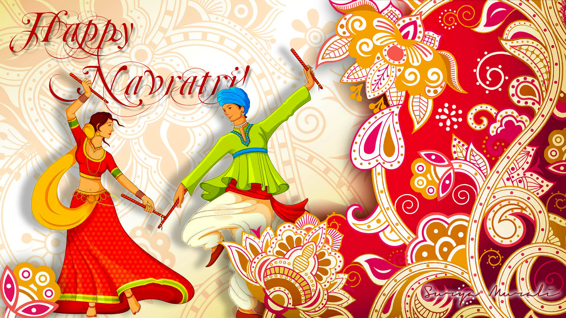 happy navratri HD greeting card wallpaper image