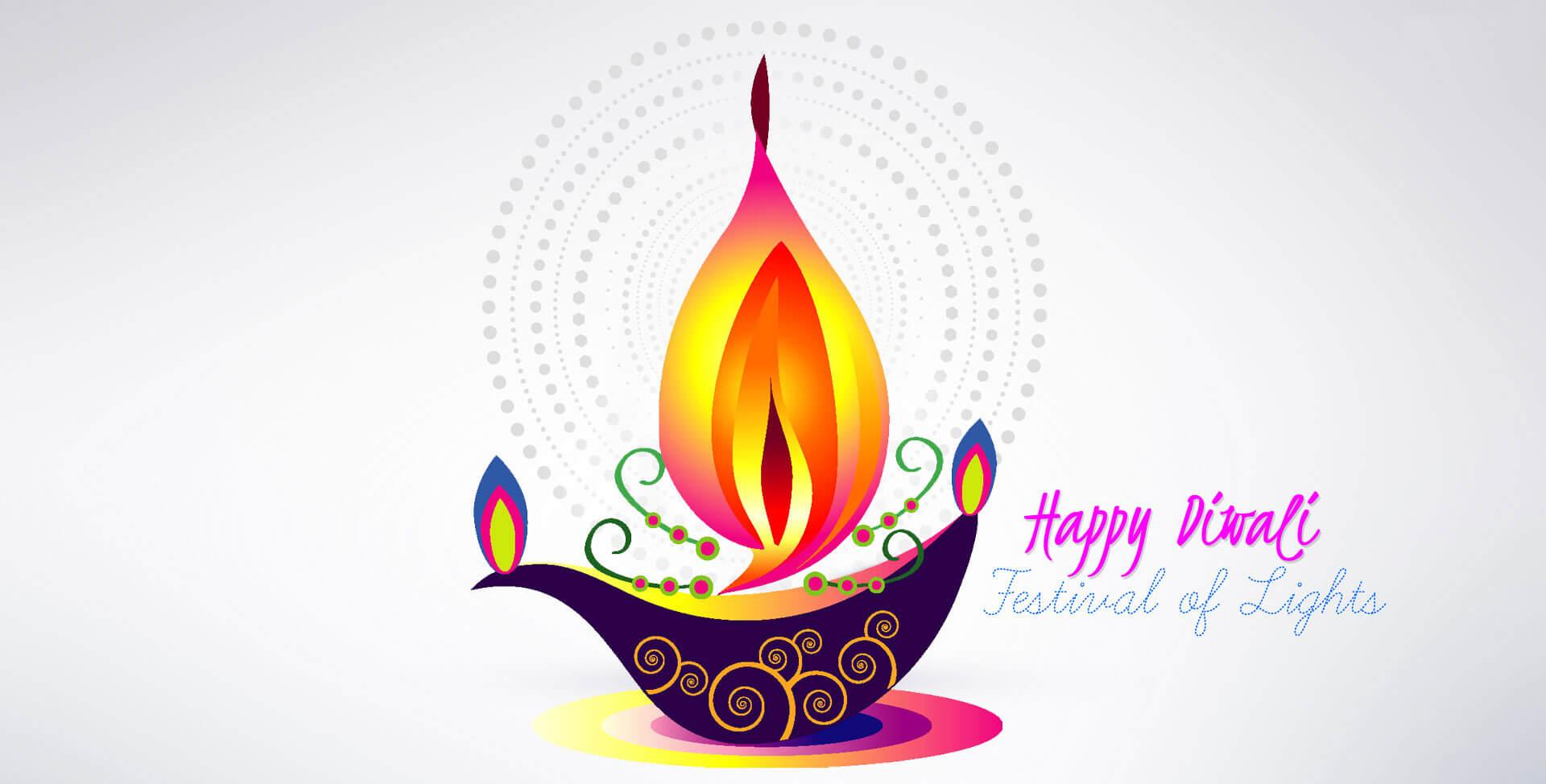 Happy Diwali with diya light greeting card wallpaper image