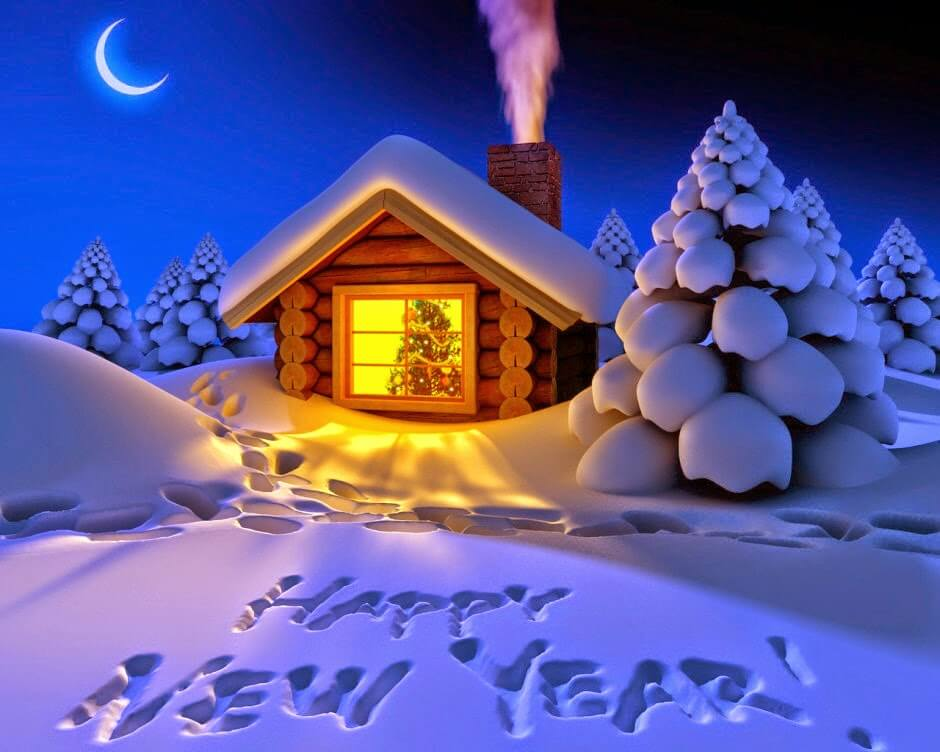 Happy New Year 2018 snow wishes animated cartoon sweet house