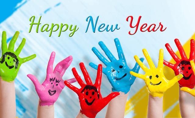 Happy New Year greeting card handmade colorful children