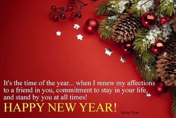 Happy New Year greeting decoration card with quote and wishes