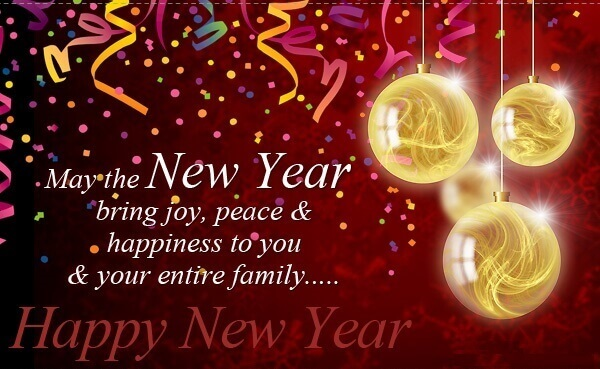 Happy New Year greeting card with wishes