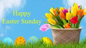 Happy Easter Sunday Wishes Flowers Basket