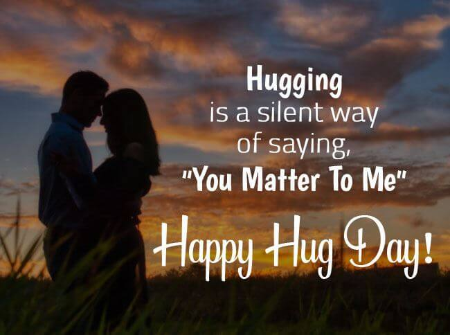 Happy Hug Day Wishes Sunset