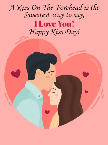Happy Kiss Day Wishes Red Heart