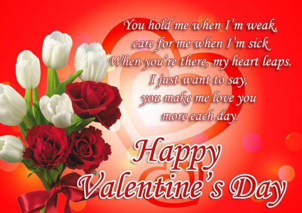Happy Valentines Day Wishes White Rose